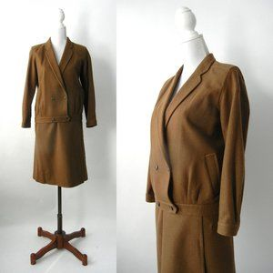Retro Military Style 80s Skirt Suit by Tom Rose